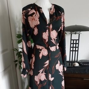A New Day floral button down dress M